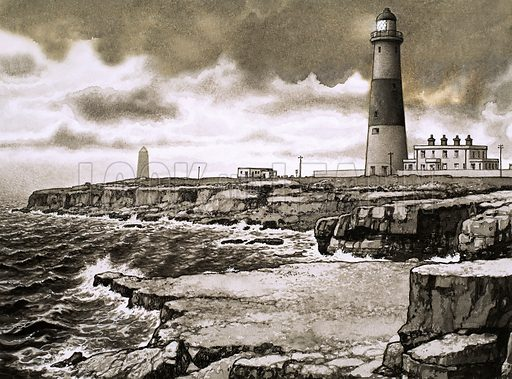 Famous British Headlands: Portland Bill. Original artwork from Look and Learn no. 447 (8 August 1970).