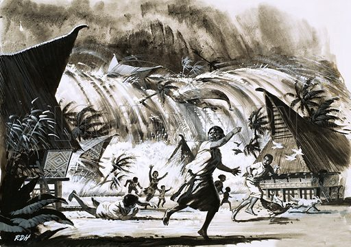 Calamity at Krakatoa. A tidal wave bearing down on a village. Original artwork from Look and Learn no. 385 (31 May 1969).
