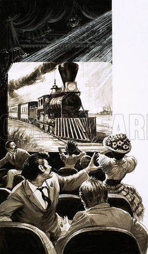 """History of the Cinema: The Beginning. From peep-hole to projector. """"A film showing a train approaching would make the audience scramble for the door."""" Original artwork from Look and Learn no. 403 (4 October 1969)."""