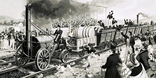 """George Stephenson's steam locomotive """"Rocket"""" taking part in the Rainhill Trials, Lancashire, 1829. Original artwork from Look and Learn no. 648 (15 June 1974)."""