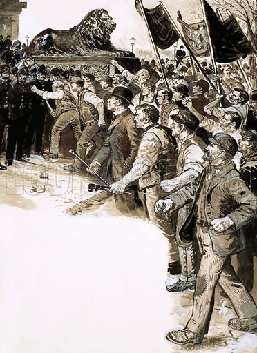 The Scene of the Crime: The Battle of Trafalgar Square. Sir Charles Warren filled the Trafalgar Square with 1,500 police and 300 Grenadier Guards when Socialists demonstrated in London. Original artwork from Look and Learn no. 614 (20 October 1973). Originally published flipped left to right.