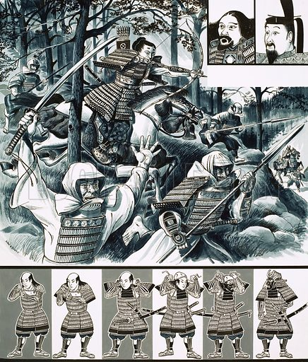 The War-Lords of Japan: Bushido – The Code of Death. Prince Morinaga leads soldier monks into battle (main pic) with Ashikaga Taauko and Go-Daigo (small portraits, top right) and a monk seen dressing for battle (bottom strip). Original artwork from Look and Learn no. 448 (15 August 1970).