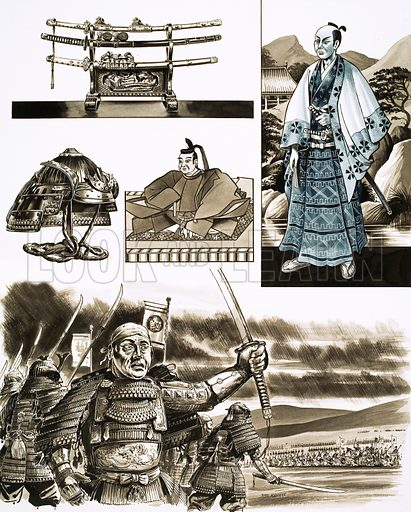 "The War-Lords of Japan: ""The Samurai's Trade is Robbery and Violence"". Original artwork from Look and Learn no. 450 (29 August 1970)."