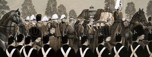 "The Edwardians: ""Good Old Uncle Bertie"". The funeral cortege of Queen Victoria. Original artwork from Look and Learn no. 585 (31 March 1973)."