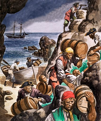 Smugglers bringing their goods ashore from their ships anchored in the bay.