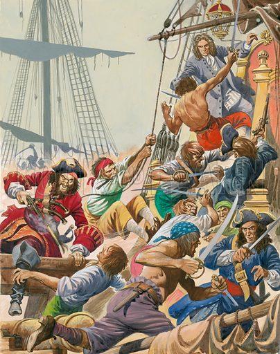 Blackbeard and his pirates boarding a ship, 1716–1718