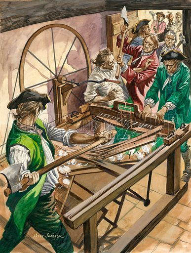 Textile workers attacking the home of James Hargreaves to destroy his invention, the Spinning Jenny, Blackburn, Lancashire, c1770.