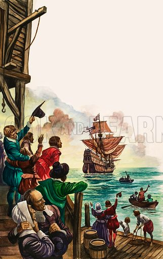 The Wonderful Story of Britain: The Pilgrim Fathers. The Mayflower sails from Plymouth, bound for America, as family and friends wave goodbye from the pier. Original artwork from Treasure no. 106 (23 January 1965).