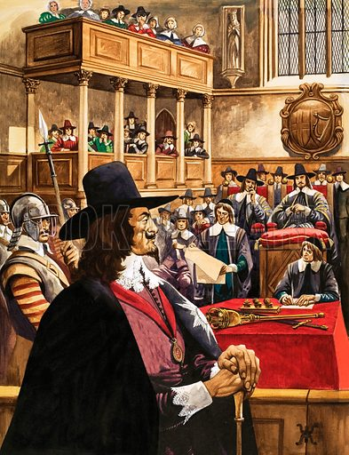 The trial of King Charles the First in Westminster Hall.