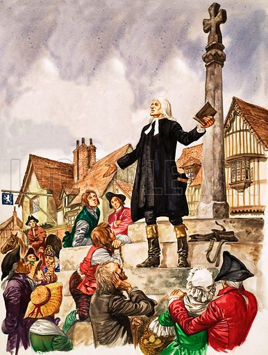 The Wonderful Story of Britain: The Good Work of John Wesley. John Wesley preaching in the market place. Original artwork from Treasure no. 153 (18 December 1965).