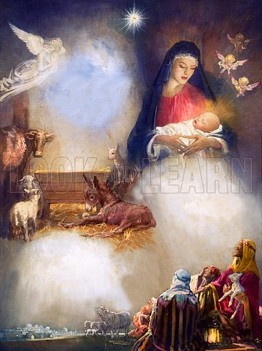Unidentified montage based on the birth of Jesus. Original artwork (dated 24 Dec).