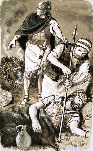 Unidentified Biblical scene with wounded man. Original artwork (dated 20/6/64).