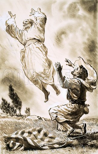 Unidentified Biblical scene of man ascending to heaven. Original artwork (dated 5/10/65).
