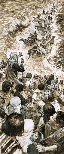 Lost in Legend: When Moses Divided the Waters. Original artwork from Look and Learn no. 484 (24 April 1971).