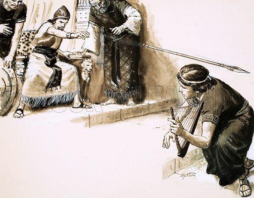 Saul throwing a spear at David.   Original artwork (dated 30/5/64).