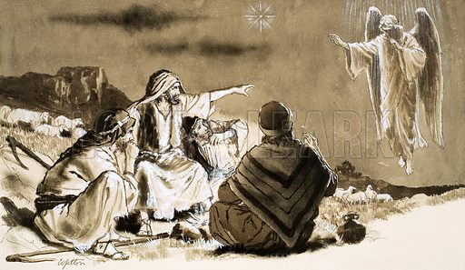 Shepherds approached by angel. Original artwork (dated 27/10/62).