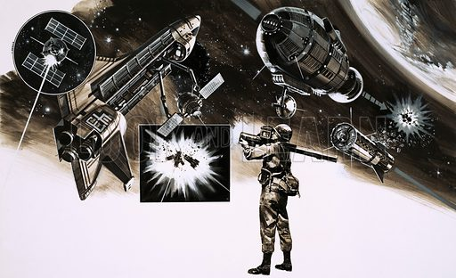 War Games in Space. Will the next war be fought in space? Original artwork from Look and Learn no. 820 (1 October 1977).