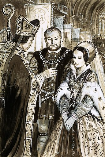Marriage of Henry VIII (?). Original artwork (dated 5/9/70).