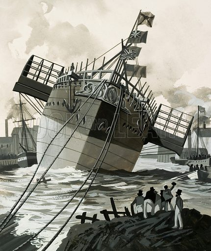 """They Sailed the Seven Seas: A Trial of Strength (The Royal Mail Line). The """"Paramatta"""" steamship was launched at Blackwell on 8th November 1858. Original artwork from Look and Learn no. 448 (15 August 1970)."""