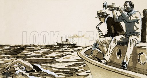 Unidentified jazz players on a boat. Original artwork (dated 13 June).