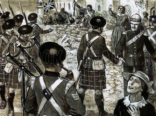 Unidentified Highlander regiment come to the aid of relieved British under siege. Original artwork.