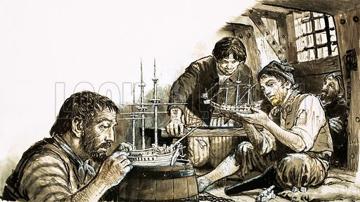 Model Marvels. French prisoners-of-war of the Napoleonic Wars making model ships. Original artwork from Look and Learn no. 401 (20 September 1969).