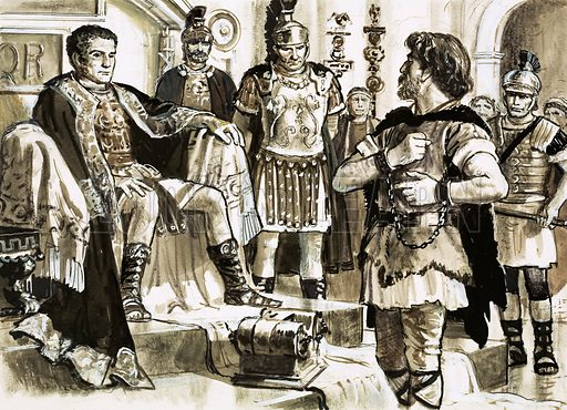 Famous Prisoners: Enemy of Rome. Caractacus confronts Emperor Claudius. Original artwork from Look and Learn no. 450 (29 August 1970).