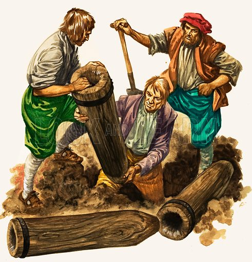 The Wonderful Story of Britain: Water for the People. Labourers assemble the first water-pipes, made of drilled elm logs, and lay them beneath the ground. Original artwork from Treasure no. 107 (30 January 1965).