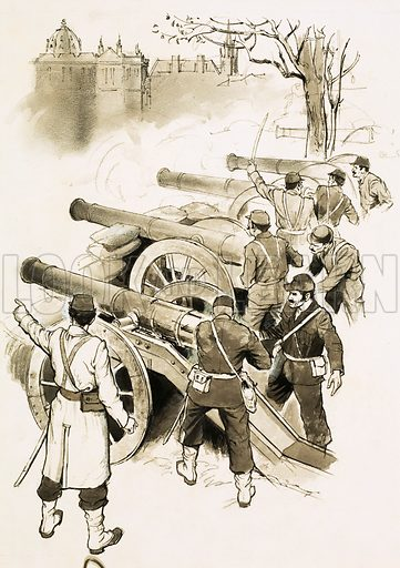Unidentified soldiers with cannons. Original artwork (dated 19/1/74).