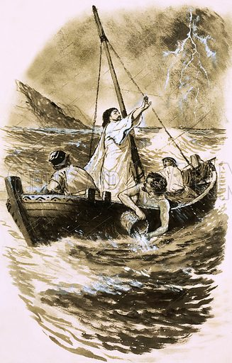 Christ calming the storm. Original artwork (dated 9/2/63).