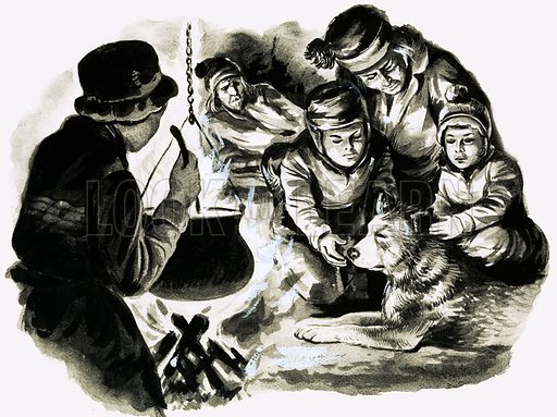 A Bowl of Broth, illustration based on a short story by Alan C. Jenkins. Original artwork from Look and Learn no. 375 (22 March 1969).