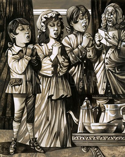 Home Sweet Home: Don't Spare the Rod! The early 18th century child in some households was taught to believe in a God of wrath and sang hymns full of hell-fire. Original artwork from Look and Learn no. 473 (6 February 1971).