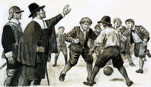 Unidentified football match (about 17th century). Original artwork.