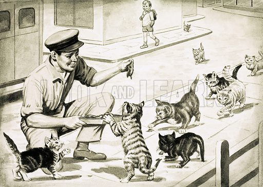 Nature's Alarm Clocks. Cats come to greet the cat's meat man at the same time every day. Original artwork from Look and Learn Book 1975.