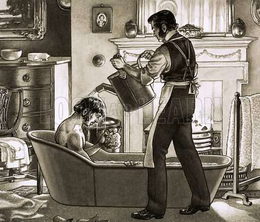 Perils of the Bath! A man being bathed by his valet. Original artwork from Look and Learn no. 461 (14 November 1970).