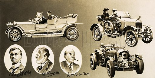 Cars by the Million. Henry Royce, Charles Rolls, WO Bentley – three pioneers of the motor car. Original artwork from Look and Learn no. 126 (13 June 1964).