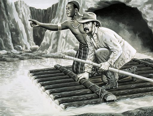 Unidentified man and native on raft. Original artwork (dated 21/7/79).