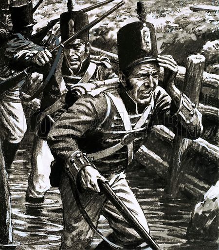 The Scene of the Crime: Death by the Dykes. Soldiers in the flooded British lines at Flushing. Original artwork from Look and Learn no. 621 (8 December 1973).