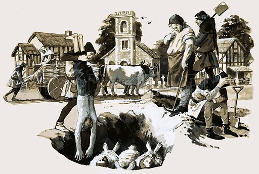 Burying victims of the Black Death, Norwich, Norfolk, 1349. The great plague swept through Norwich like wildfire in January 1349. Original artwork from Look and Learn no. 625 (5 January 1974).