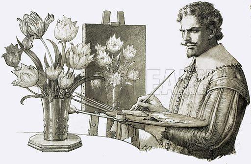 Unidentified artist painting flowers. Original artwork.