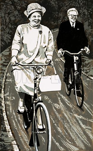 Modern Monarchies: Queen Without a Crown. Queen Juliana of Holland on a bicycle. Original artwork from Look and Learn no. 634 (9 March 1974).