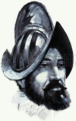Francisco de Coronado (1510–1554), Spanish Conquistador. In 1540–1542 Coronado led an expedition from Mexico into what is now the southwestern United States in search of the Cities of Cibola, the mythical Seven Cities of Gold. Original artwork from Look and Learn no. 980 (20 December 1980).