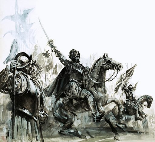 Seven Cities of Gold: The March to Find a Myth. Francisco de Coronado at the head of his expedition into Mexico. Original artwork from Look and Learn no. 980 (20 December 1980).
