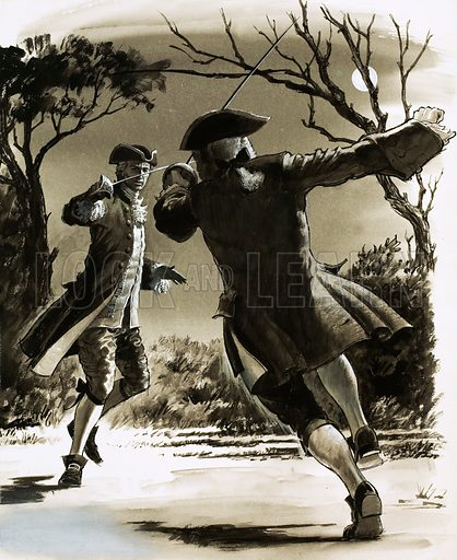 Unidentified men duelling with swords in moonlight. Original artwork (dated 22/4/81).