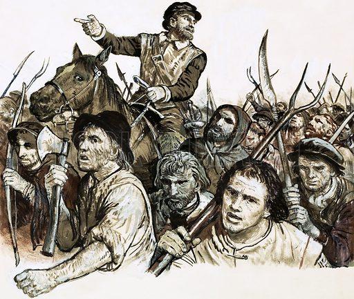 Kett leading Norfolk peasants, picture, image, illustration