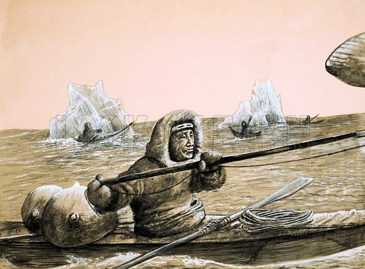 Peoples in Peril: In the Land of Terrible Winds. Eskimos on the icy sea. Original artwork from Look and Learn no. 1042 (27 February 1982).