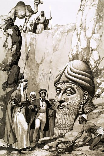 Treasures from the Past. Austen Layard could hardly believe his luck when workmen in Iraq uncovered the enormous bearded head representing the god Nimrod. Original artwork from Look and Learn Book 1977.