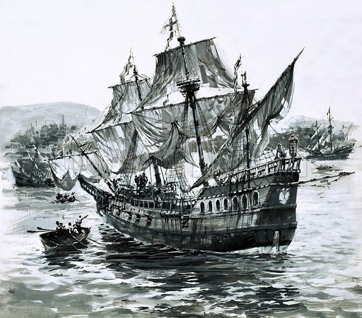 Stories of the Sea: Drake's Voyage Around the World. Drake's ship, the Golden Hind, limps back to Portsmouth carrying immense riches. Original artwork from Look and Learn no. 629 (2 February 1974).