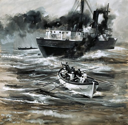 History's Heroes: A Date with Death. The tramp steamer HMS Farnborough was sunk by a German U-Boat. Original artwork from Look and Learn no. 583 (17 March 1973).