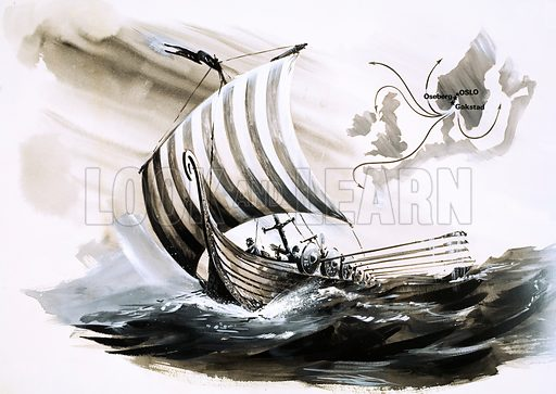 Viking longship. Original artwork from Look and Learn no. 626 (12 January 1974).